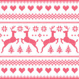 Winter, Christmas red seamless pixelated pattern with deer and hearts Stock Photo