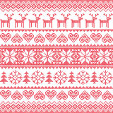 Winter, Christmas red seamless pixelated pattern with deer Stock Photos