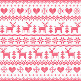 Winter, Christmas red seamless pixilated pattern with deer and hearts. Christmas  background -  Scandinavian embroidery style Royalty Free Stock Photography