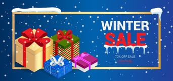 Winter christmas sale banner, vector illustration. Winter shopping concept. Shopping, offer, discount background Stock Photos