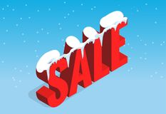 Winter christmas sale banner, vector illustration. Winter shopping concept. Shopping, offer, discount background Royalty Free Stock Photography