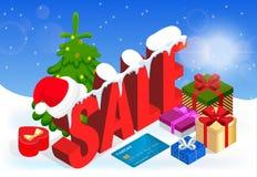 Winter christmas sale banner, vector illustration.  Stock Image