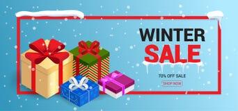 Winter christmas sale banner, vector illustration  Stock Image