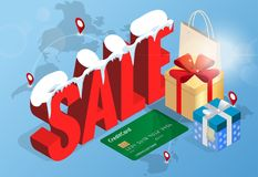 Winter christmas sale banner, vector illustration. Winter shopping concept. Shopping, offer, discount background Royalty Free Stock Photos