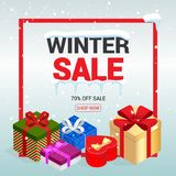 Winter christmas sale banner, vector illustration.   Stock Photography
