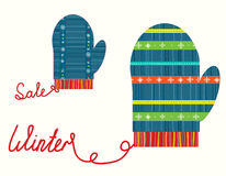 Winter christmas sale icons with gloves. Funny design Royalty Free Stock Photos