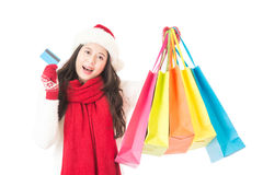 Winter christmas sale shopping with credit card Royalty Free Stock Image