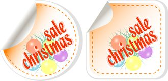 Winter christmas Sale stickers vector set Stock Photos