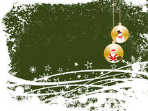 Winter / christmas scene. Vector illustration of christmas baubles on a winter background Stock Image