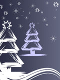 Winter / christmas scene. Vector illustration of abstract christmas trees Stock Images