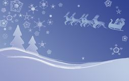 Winter christmas scene. Vector based illustration with sleigh and reindeer as part of the background Stock Photos