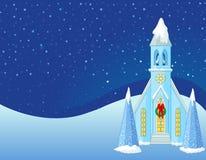 Winter Christmas scene  background. Winter Christmas scene  with snowbound church background Stock Image