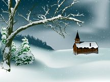 Winter Christmas Scene. Colored Illustration, Vector Royalty Free Stock Images