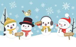 Winter christmas scene with cute little snowman. Winter Christmas scene with four little cute snowman in different poses. You can use this illustration as a card Stock Images