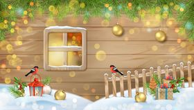 Winter Christmas Scene. Old window of a wooden house wall, fir-tree branches, birds, fence and snow gifts vector illustration