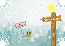 Winter Christmas scene with signpost to Santa Clau. S. This image has vector editable copy Stock Images