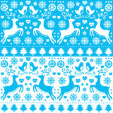 Winter, Christmas seamless blue pattern with reindeer - folk style. Retro style blue Xmas or winter pattern - 2 sets Royalty Free Stock Images