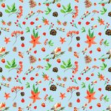 Winter Christmas seamless pattern with cute bullfinch, rowan berries, pine cones, red flowers. stock photography