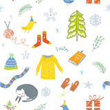 Winter and Christmas seamless pattern - cute design Stock Images