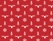 Winter Christmas seamless pattern with deer Stock Photos