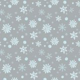 Winter Christmas seamless pattern, festive. Falling snow, snowflakes, curlicues, snow balls. Suitable for gift wrapping, fabric royalty free illustration