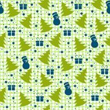 Winter Christmas seamless pattern on green background stock illustration