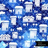 Winter Christmas seamless pattern with houses Royalty Free Stock Photo