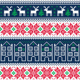 Winter christmas seamless pattern with reindeer Stock Photography