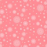 Winter christmas seamless pattern with white snowflakes on pink background royalty free illustration