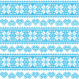 Winter, Christmas seamless pixelated blue pattern with hearts. Nordic folk art  background -  Scandinavian embroidery style Stock Photos