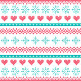 Winter, Christmas seamless pixelated pattern with snowflakes and hearts. Nordic folk art  background - red and turquoise  Scandinavian embroidery style Stock Images