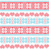 Winter, Christmas Seamless Pixelated Pattern With Snowflakes And Hearts Stock Images