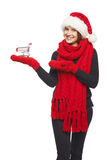 Winter, christmas shopping and sales concept. Winter, christmas, sales and shopping concept. Smiling beautiful woman in Santa hat, scarf and mittens showing open Royalty Free Stock Images