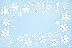 Winter and Christmas Snowflake Background Border
