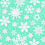 Winter and Christmas Snowflake and Star Pattern