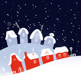 Winter Christmas snowing village Royalty Free Stock Images