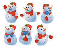 Winter christmas snowman emotions icons set Stock Images
