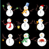 Winter Christmas snowmen collection. Vector illustration. Stock Image