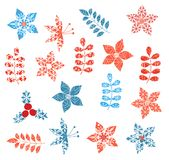 Winter and Christmas stylized decorative leaf designs. With snowflake texture royalty free illustration