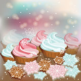 Winter Christmas sweets cupcakes Royalty Free Stock Photos