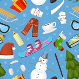 Winter Christmas symbols vector icons sport and holiday outdoor wintertime snow, ice, snowman, New Year tree and Santa Royalty Free Stock Photography