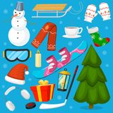 Winter Christmas symbols vector icons sport and holiday outdoor wintertime snow, ice, snowman, New Year tree and Santa Stock Images