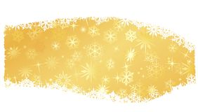 Winter, Christmas theme. Grungy Christmas, winter snowflake background in red and gold. Space for your text. Snowflake single objects, white and golden snow Royalty Free Stock Photography