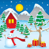 Winter Christmas theme cartoon vector. Celebration in winter christmas have gifts and snowman, home, christmas tree Royalty Free Stock Image