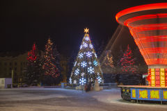 Winter and Christmas time in Daugavpils city Stock Photos