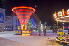 Winter and Christmas time in Daugavpils city Royalty Free Stock Image