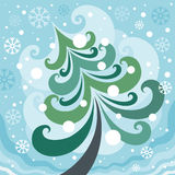 Winter Christmas tree Stock Photography