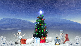 Winter christmas tree. Is wallpaper whit rabbits Stock Image