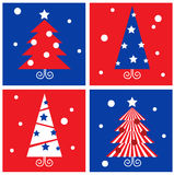 Winter Christmas Trees retro blocks collection. Stock Images