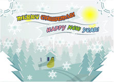 Winter Christmas vector editable landscape Stock Photography